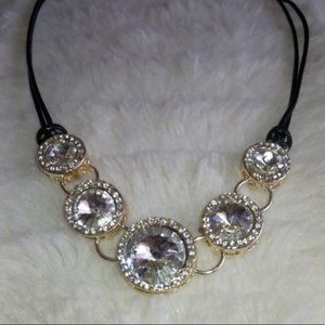 Jewelry - Black Thread Necklace With Large Gems